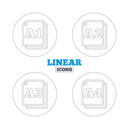 Paper size standard icons. Document symbols. A1, A2, A3 and A4 page signs. Linear outline web icons. Vector Illustration
