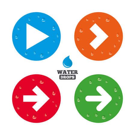 with liquids: Water drops on button. Arrow icons. Next navigation arrowhead signs. Direction symbols. Realistic pure raindrops on circles. Vector