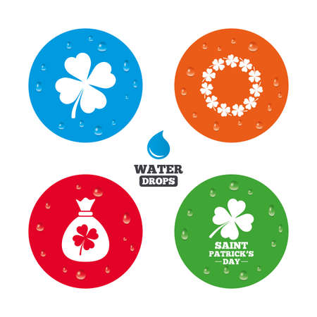 quatrefoil: Water drops on button. Saint Patrick day icons. Money bag with clover sign. Wreath of quatrefoil clovers. Symbol of good luck. Realistic pure raindrops on circles. Vector