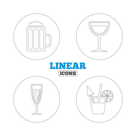 alcoholic drinks: Alcoholic drinks icons. Champagne sparkling wine with bubbles and beer symbols. Wine glass and cocktail signs. Linear outline web icons. Vector Illustration