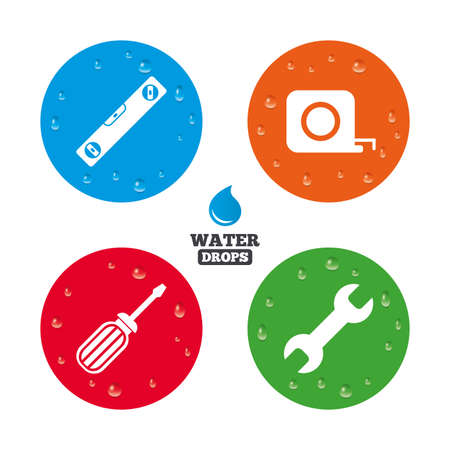 bubble level: Water drops on button. Screwdriver and wrench key tool icons. Bubble level and tape measure roulette sign symbols. Realistic pure raindrops on circles. Vector