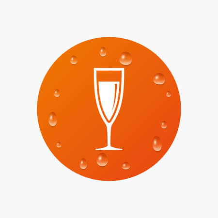 champagne orange: Water drops on button. Glass of champagne sign icon. Sparkling wine. Celebration or banquet alcohol drink symbol. Realistic pure raindrops. Orange circle. Vector