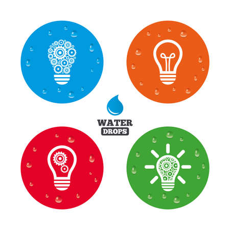 lamp light: Water drops on button. Light lamp icons. Lamp bulb with cogwheel gear symbols. Idea and success sign. Realistic pure raindrops on circles. Vector Illustration