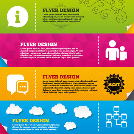 mysql: Flyer brochure designs. Information sign. Group of people and database symbols. Chat speech bubbles sign. Communication icons. Frame design templates. Vector