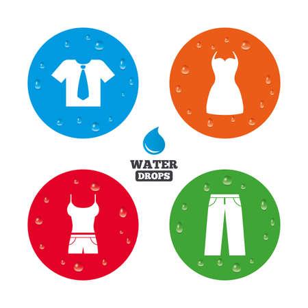 Wassertropfen auf der Taste. Kleidung Symbole. T-Shirt mit Geschäfts Krawatte und Hose Zeichen. Frauen kleiden Symbol. Realistische pure regentropfen auf Kreise. Vektor Standard-Bild - 42406125