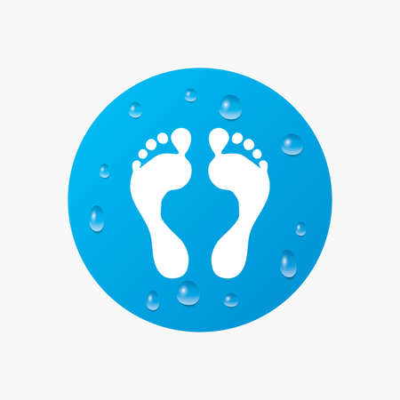 human footprint: Water drops on button. Human footprint sign icon. Barefoot symbol. Foot silhouette. Realistic pure raindrops. Blue circle. Vector