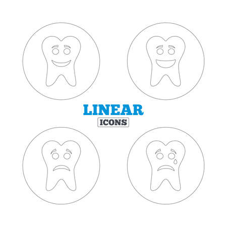 unhealthy: Tooth happy, sad and crying faces icons. Dental care signs. Healthy or unhealthy teeth symbols. Linear outline web icons. Vector Illustration