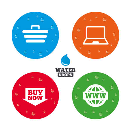 condensation basket: Water drops on button. Online shopping icons. Notebook pc, shopping cart, buy now arrow and internet signs. WWW globe symbol. Realistic pure raindrops on circles. Vector