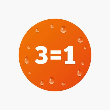 equals: Wassertropfen auf der Taste. Drei f�r eine Zeichen-Symbol. Nehmen Sie drei Lohn f�r einen Verkauf-Taste. 3 gleich 1. Realistische reine Regentropfen. Orange Kreis. Vektor Illustration