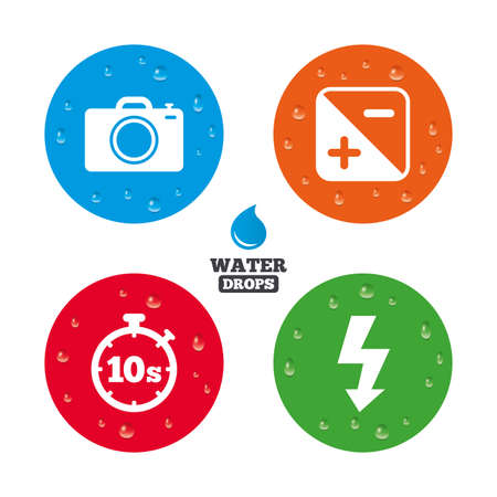 seconds: Water drops on button. Photo camera icon. Flash light and exposure symbols. Stopwatch timer 10 seconds sign. Realistic pure raindrops on circles. Vector Illustration