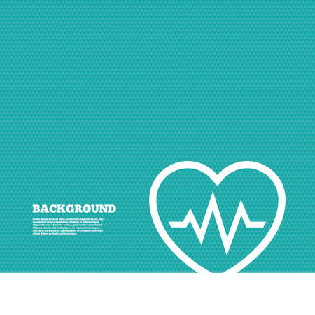 blood pressure monitor: Background with seamless pattern. Heartbeat sign icon. Cardiogram symbol. Triangles green texture. Vector