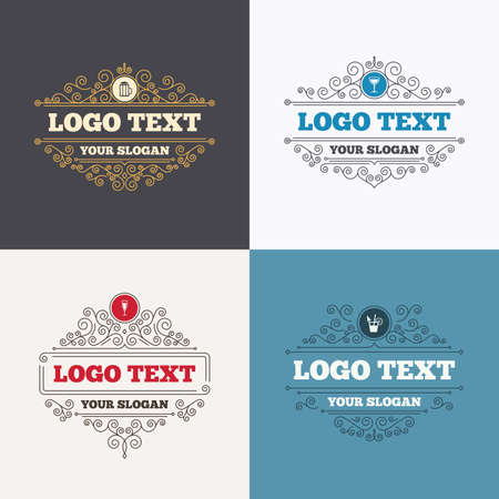 alcoholic drinks: Flourishes calligraphic emblems. Alcoholic drinks icons. Champagne sparkling wine and beer symbols. Wine glass and cocktail signs. Luxury ornament lines. Vector