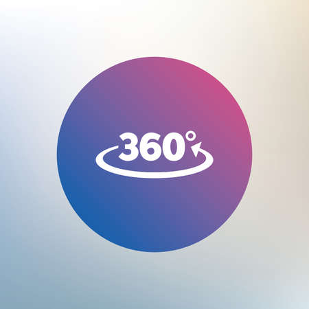 Angle 360 degrees sign icon. Geometry math symbol. Full rotation. Icon on blurred background. Vector Illustration