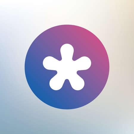 more information: Asterisk round footnote sign icon. Star note symbol for more information. Icon on blurred background. Vector