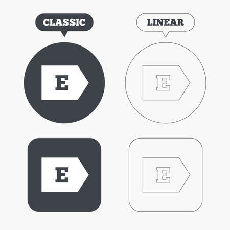 consumption: Energy efficiency class E sign icon. Energy consumption symbol. Classic and line web buttons. Circles and squares. Vector