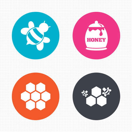 fruttosio: Pulsanti di cerchio. Icona Miele. Celle a nido d'ape con le api simbolo. Dolci segni alimentari naturali. Seamless piazze trama. Vettore