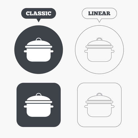stew: Cooking pan sign icon. Boil or stew food symbol. Classic and line web buttons. Circles and squares. Vector