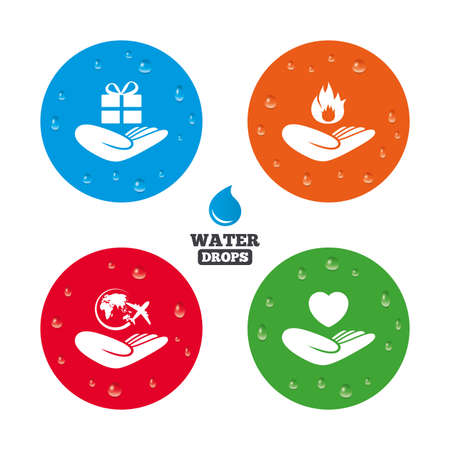 present box: Water drops on button. Helping hands icons. Health and travel trip insurance symbols. Gift present box sign. Fire protection. Realistic pure raindrops on circles. Vector Illustration
