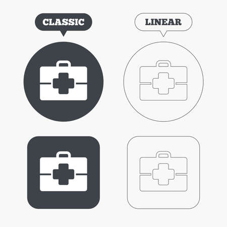 doctor symbol: Medical case sign icon. Doctor symbol. Classic and line web buttons. Circles and squares. Vector Illustration