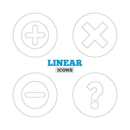 ampliar: Mais e menos �cones. Excluir e questionar FAQ marca de sinais. Ampliar s�mbolo zoom. �cones do Web do contorno lineares. Vetor