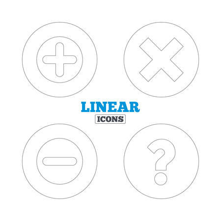 enlarge: Plus and minus icons. Delete and question FAQ mark signs. Enlarge zoom symbol. Linear outline web icons. Vector Illustration