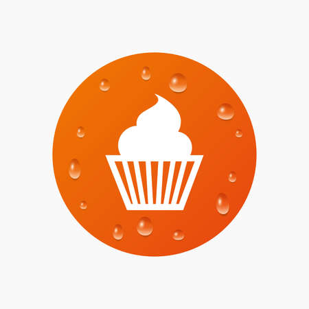with liquids: Water drops on button. Muffin sign icon. Cupcake symbol. Realistic pure raindrops. Orange circle. Vector Illustration