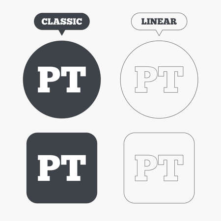 lang: Portuguese language sign icon. PT Portugal translation symbol. Classic and line web buttons. Circles and squares. Vector