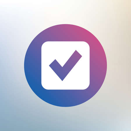 checkbox: Check mark sign icon. Checkbox button. Icon on blurred background. Vector Illustration