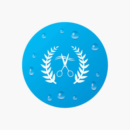 cut hair: Water drops on button. Scissors cut hair sign icon. Hairdresser or barbershop laurel wreath symbol. Winner award. Realistic pure raindrops. Blue circle. Vector Illustration