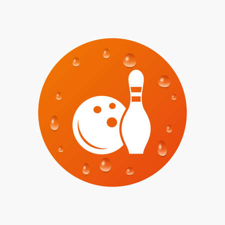 skittle: Water drops on button. Bowling game sign icon. Ball with pin skittle symbol. Realistic pure raindrops. Orange circle. Vector