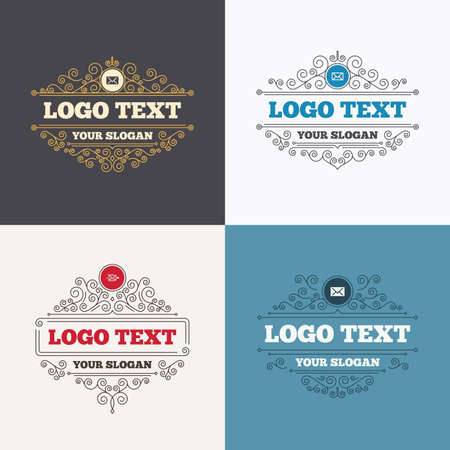post office: Flourishes calligraphic emblems. Mail envelope icons. Message delivery symbol. Post office letter signs. Luxury ornament lines. Vector