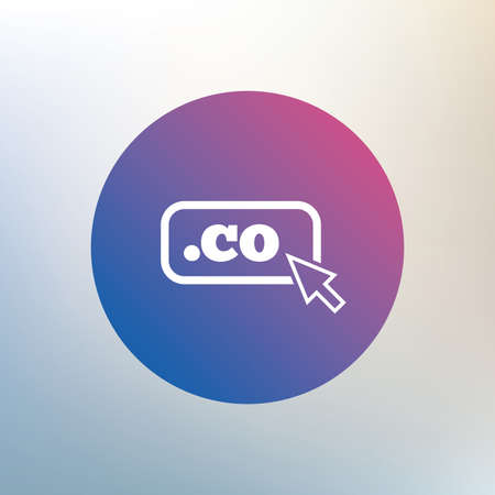co: Domain CO sign icon. Top-level internet domain symbol with cursor pointer. Icon on blurred background. Vector
