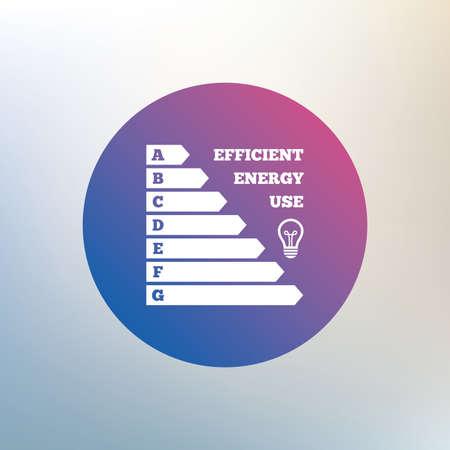 consommation: �nergie ic�ne de l'efficacit�. Electricit� symbole de la consommation. Idea signe de la lampe. Ic�ne sur fond flou. Vecteur Illustration