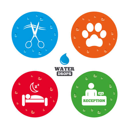 quiet room: Water drops on button. Hotel services icons. With pets allowed in room signs. Hairdresser or barbershop symbol. Reception registration table. Quiet sleep. Realistic pure raindrops on circles. Vector