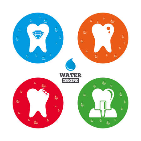 crystal button: Water drops on button. Dental care icons. Caries tooth sign. Tooth endosseous implant symbol. Tooth crystal jewellery. Realistic pure raindrops on circles. Vector