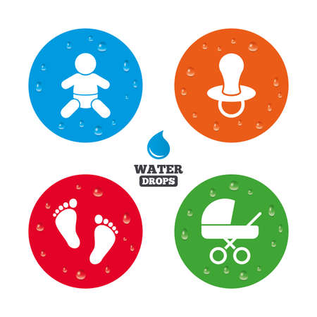 infants: Water drops on button. Baby infants icons. Toddler boy with diapers symbol. Buggy and dummy signs. Child pacifier and pram stroller. Child footprint step sign. Realistic pure raindrops on circles. Vector