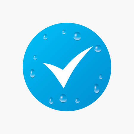 confirm: Water drops on button. Check sign icon. Yes symbol. Confirm. Realistic pure raindrops. Blue circle. Vector