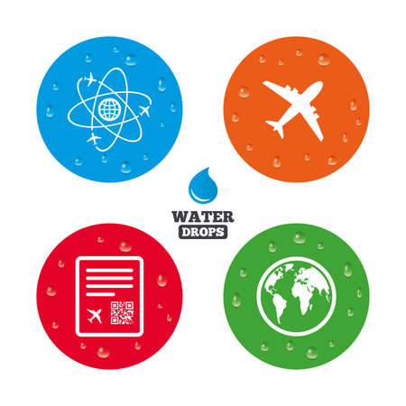 wet flies: Water drops on button. Airplane icons. World globe symbol. Boarding pass flight sign. Airport ticket with QR code. Realistic pure raindrops on circles. Vector