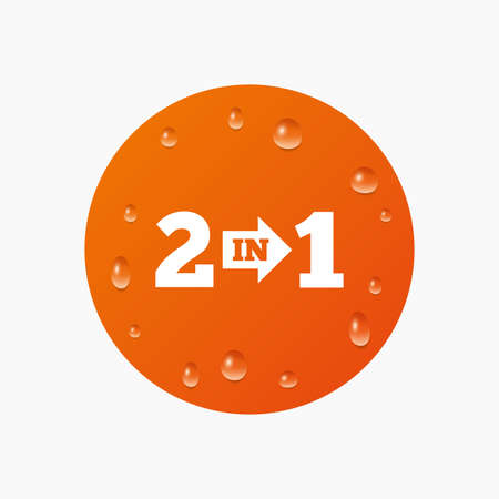 complement: Water drops on button. Two in one suite sign icon. 2 in 1 symbol with arrow. Realistic pure raindrops. Orange circle. Vector Illustration