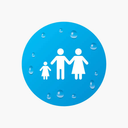 family with one child: Water drops on button. Family with one child sign icon. Complete family symbol. Realistic pure raindrops. Blue circle. Vector