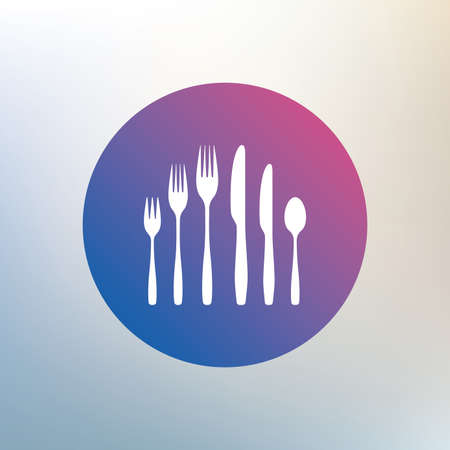 teaspoon: Dessert fork, knife, teaspoon sign icon. Cutlery collection set symbol. Icon on blurred background. Vector