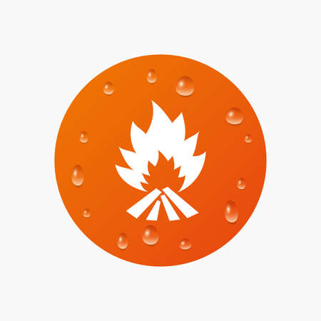 escape: Water drops on button. Fire flame sign icon. Heat symbol. Stop fire. Escape from fire. Realistic pure raindrops. Orange circle. Vector Illustration