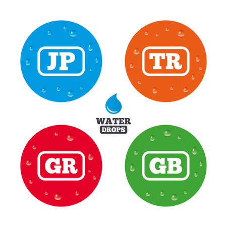 tr: Water drops on button. Language icons. JP, TR, GR and GB translation symbols. Japan, Turkey, Greece and England languages. Realistic pure raindrops on circles. Vector Illustration