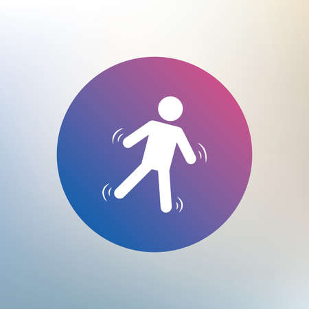 slippery: Man falls sign icon. Falling down human symbol. Caution slippery. Icon on blurred background. Vector