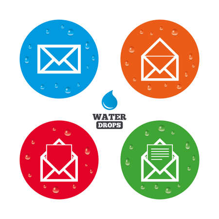 envelope icon: Water drops on button. Mail envelope icons. Message document symbols. Post office letter signs. Realistic pure raindrops on circles. Vector