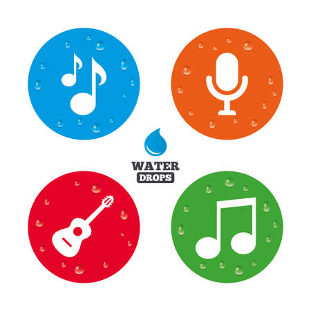 karaoke: Water drops on button. Music icons. Microphone karaoke symbol. Music notes and acoustic guitar signs. Realistic pure raindrops on circles. Vector Illustration
