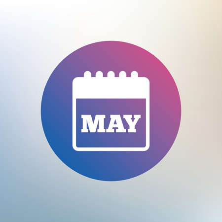 event planning: Calendar sign icon. May month symbol. Icon on blurred background. Vector Illustration