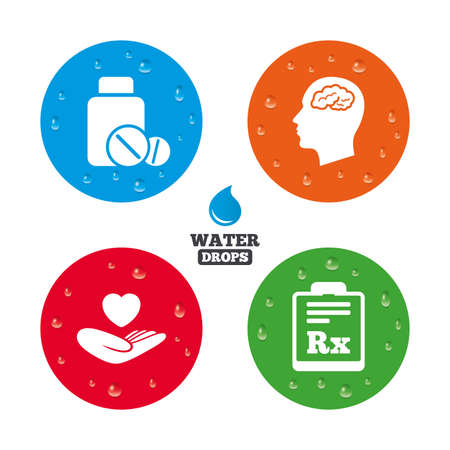rx: Water drops on button. Medicine icons. Medical tablets bottle, head with brain, prescription Rx signs. Pharmacy or medicine symbol. Hand holds heart. Realistic pure raindrops on circles. Vector Illustration
