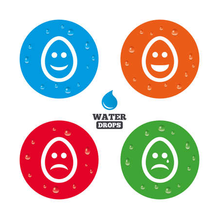 pasch: Water drops on button. Eggs happy and sad faces icons. Crying smiley with tear symbols. Tradition Easter Pasch signs. Realistic pure raindrops on circles. Vector