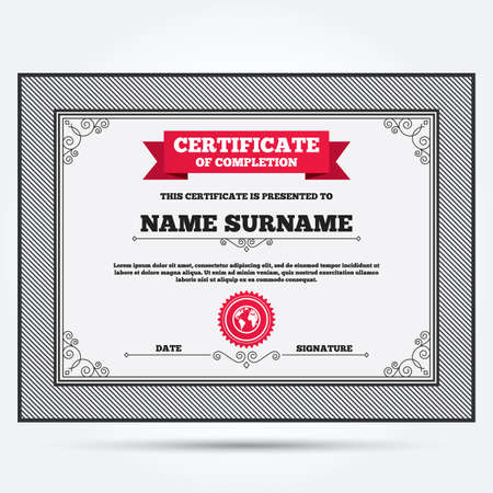 geography: Certificate of completion. Globe sign icon. World map geography symbol. Template with vintage patterns. Vector